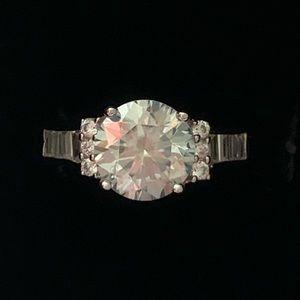 2.90 Ct VVS1 Sky Blue Moissanite Ring, Size 7